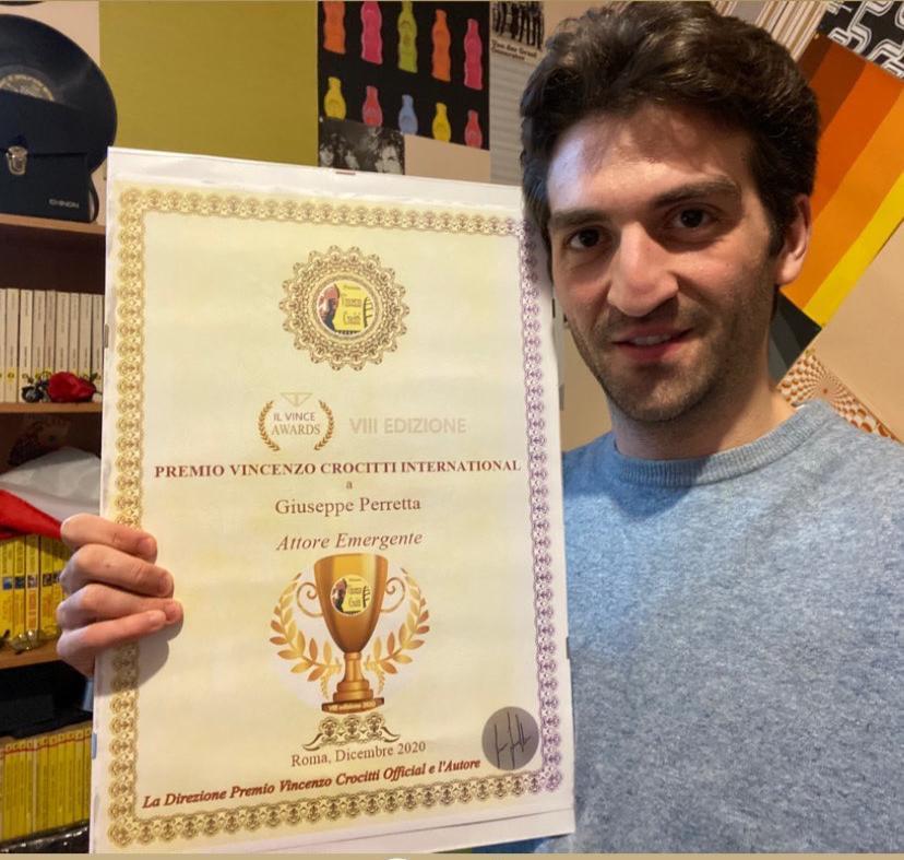 Giuseppe Perretta vince il Premio Vincenzo Crocitti International come attore emergente